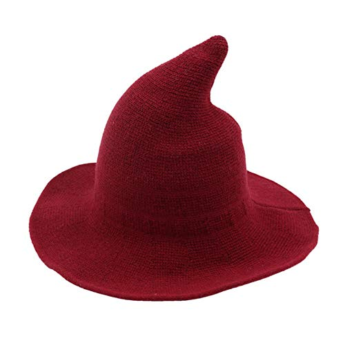 Sendk Halloween Makeup, Halloween Decoration Halloween Wizard Hat Solid Color Kinitted-Wool Hats for Halloween Party Masquerade Cosplay Costume]()