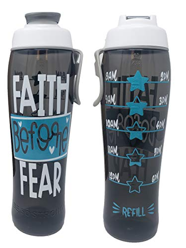 BPA Free Reusable Water Bottle with Time Marker – Motivational Fitness Bottles – Hours Marked – Drink More Water Daily – Tracker Helps You Drink Water All Day -Made in USA (Faith Before Fear, 30 oz.)