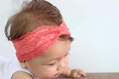 Amazon.com  Handmade Lace Coral Turban Headband by Allbabygirls ... 6bab1ce8d9c
