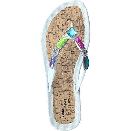 Blanco De Mujer Zapatillas Scarpa Baño Linea Moda Chanclas Con Tacón Firenze Flip Dedo FxpUnqX7w