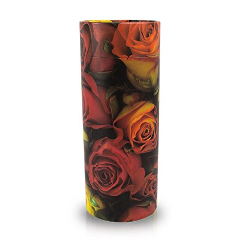 (OneWorld Memorials Rose Paper Cremation Scattering Tube - Large - Holds Up To 200 Cubic Inches of Ashes - Pink Biodegradable Cremation Urn - Engraving Sold Separately)