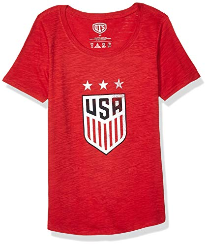 - World Cup Soccer Women's OTS Slub Scoop Tee, U.S. Women's Soccer Team,Distressed Star Logo Navy,X-Large