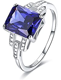 Womens 925 Sterling Silver Created Tanzanite Promise Ring