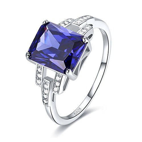 Merthus 925 Sterling Silver Emerald Cut Synthetic Tanzanite Quartz Promise Ring for Her
