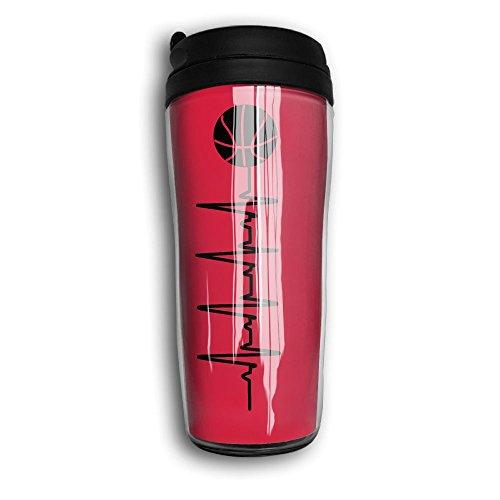 Coffee Mug, Basketball Heart Rate Sports Milk Tea Drinking Water Bottle Coffee Mug Carry Hand Cup Reusable Plastic Curve Travel Mug Coffee Tumbler For Women Men Kids Teens Adults