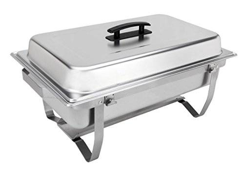 Sterno 70153 Foldable Frame Buffet Chafer Set, 8 quart, Silver (4) by Sterno