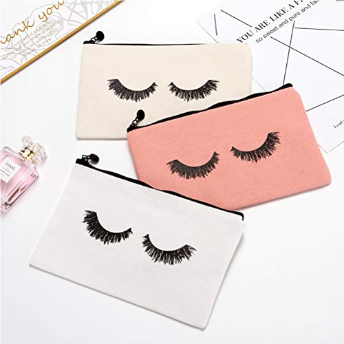 Yarachel Eyelash Makeup Bags - 12 Pieces Cosmetic Bags Travel Make up Pouches with Zipper for Women and Girls (12 Pieces, White,Beige and Pink)