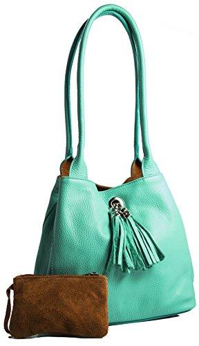 BHBS Reversibel Trendige Damen Italienische Leder Schultertasche 26x23x12.5 cm (BxHxT) (M-504 Turquoise)