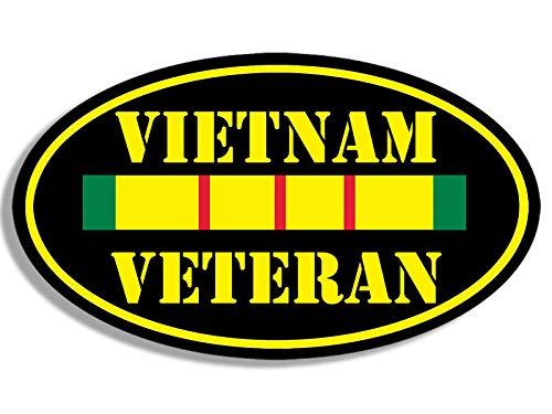 MAGNET 3x5 inch Oval VIETNAM VETERAN Sticker - decal army vet military ribbon bumper Magnetic vinyl bumper sticker sticks to any metal fridge, car, signs ()