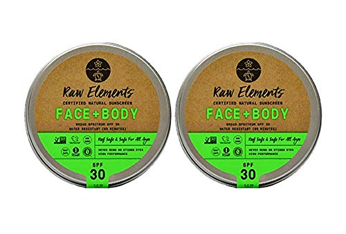Raw Elements Face and Body Certified Natural Sunscreen Non-Nano Zinc Oxide, 95 Organic, Water Resistant, Reef Safe, Cruelty Free, SPF 30 , All Ages Safe, Moisturizing, Reusable Tin, 3oz 2-Pack