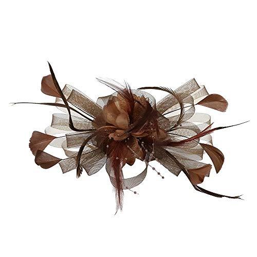 - Fascinators Hats for Women Tea Party Headband Kentucky Derby Wedding Cocktail Flower Mesh Feathers Hair Clip Brown