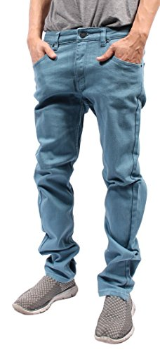 Mens Color Skinny Jeans (32/30, French Blue)