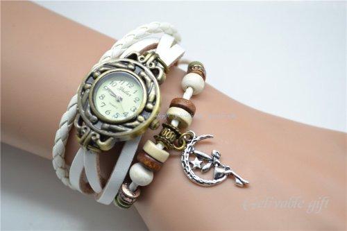 (Tinker Bell Bracelet Watch,fairy on the Moon Wrist Watch,girl Charms Bracelet Watch)