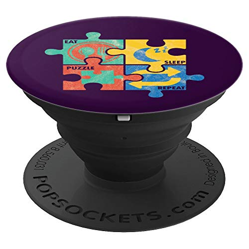 Eat Sleep Puzzle Repeat Tiling Jigsaw Games Pop Socket Grip - PopSockets Grip and Stand for Phones and Tablets