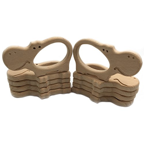 Wendysun 1pcs Organic Beech Wooden Hippo Natural Handmade Baby Teether Toys DIY Wooden Teether Personalized Eco-Friendly Safe Pendant Baby Montessori Toy (1pcs)