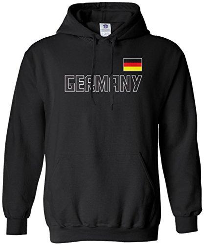 Threadrock Men's Germany National Pride Hoodie Sweatshirt S Black