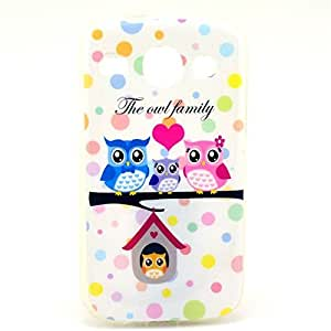Acefast INC Cute Owls Paint TPU Soft Case Silicone Cover Back for Samsung Galaxy Core I8260 I8262 (03-Owl Family)