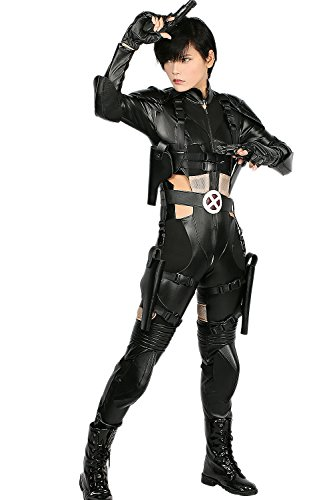 Hotwinds Domino Costume Cosplay Outfit Bodysuit Suit Black PU Leather Size L]()