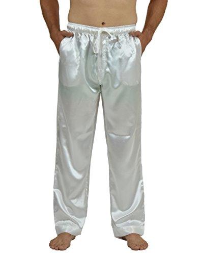 (Up2date Fashion Men's Satin Lounge Pants (L, White))