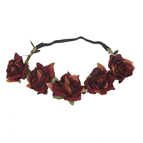 June Bloomy Women Rose Floral Crown BOHO Flower Headband Hair Wreath (Dark Red) (Flower Headpiece Halloween)