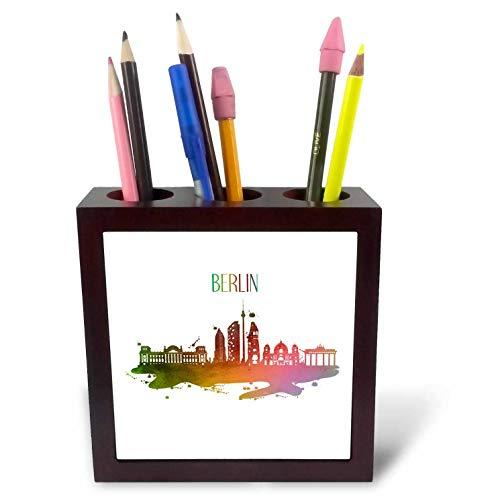 (3dRose Sven Herkenrath City - Skyline of Berlin Germany Europe with Brandenburger Gate - 5 inch Tile Pen Holder)