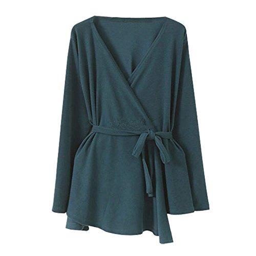 Belt Coat DYF COAT Color XXL sleeve Collar Long length Medium Blue FYM Big Solid V size xSwP5dq5