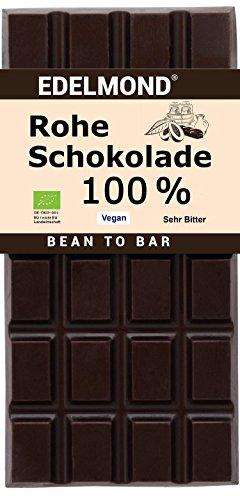 100% Bio Roh Edelschokolade Edelmond - Ideal als bitterste Geschenk Schokolade - Gewalzt aus rohen Bio Kakaobohnen, gut für Antioxydantien und Flavanole. Eine Zutat: bitterste Kakaobohnen!