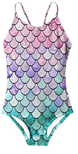 BFUSTYLE Girls Kids Lightweight Halter Mermaid Fish Scale Blue Purple Lavender Pink Pattern Casual Vacation Holiday Daily Beach Bord Surf Swim Wear Suit 7-8 Years Old,One Piece 2PC