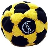 PRO Footbag AKA Hacky Sack Freestyle, 32 Panneaux (Noir/Jaune) Parfait pour les stands et les retards! Idéal pour les débutants.