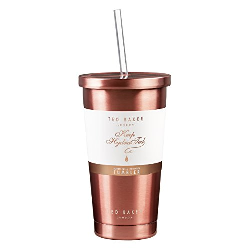 Ted Baker | Tumbler and Straw | 480ml | Stainless Steel | Rose Gold | Double Walled Insulation (Baker Steel Gold)