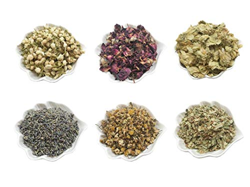 PEPPERLONELY Kosher Certified Botanical Dried Edible Flowers Lavender, Rose Buds & Petals, Jasmine, Chamomile, Hop Flowers for Herb Tea, Soap Making, and Bath Bombs (Herbs Flowers Dried)