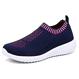KONHILL Women's Lightweight Casual Walking Athletic Shoes Breathable Mesh Running Slip-On Sneakers
