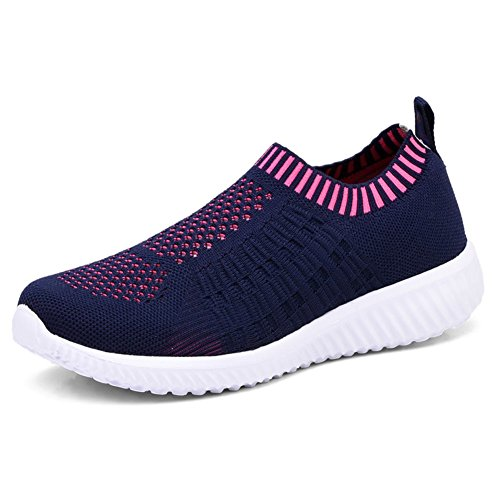 Slip On Athletic Shoes (KONHILL Women's Lightweight Casual Walking Athletic Shoes Breathable Mesh Running Slip-On Sneakers, Navy, 38)