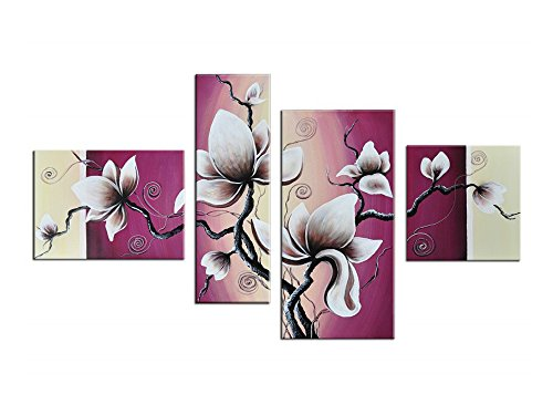 Noah Art Rustic Floral Artwork, Tulip Flower Picture 100% Hand Painted Modern Oil Paintings of Flowers on Canvas, 4 Piece Framed Pink Flower Wall Art for Bedroom Wall Decor Ready to Hang