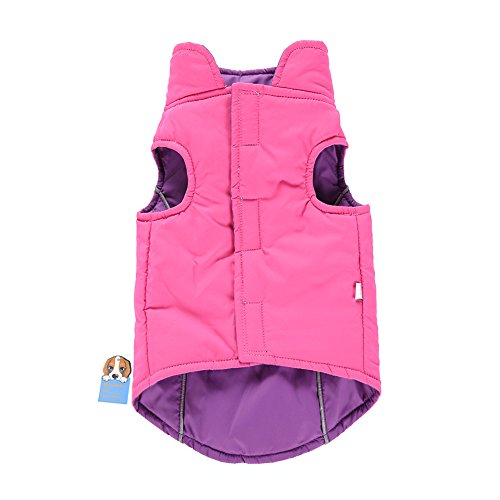 Reversible Fleece Dog Jacket (Awtang Pet Dogs Winter Vest Coat Reversible Pet Jacket Cold Weather Fleece Lined Sports Dog Apparel Soft Light Waterproof Pet Dog Clothes Purple M)