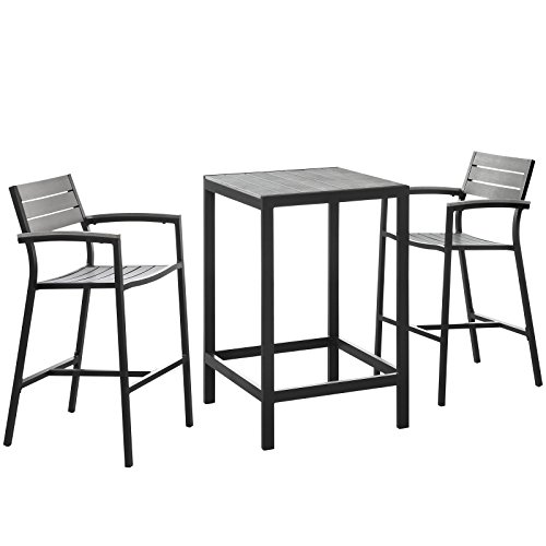 Modern Urban Contemporary 3 pcs Outdoor Patio Dining Set, Brown Grey Steel