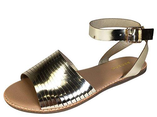 Patent Cut Out Flat Sandal - 6