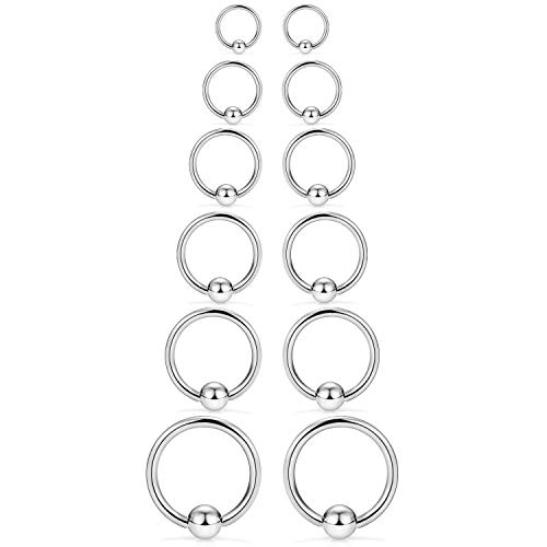 SCERRING 12PCS 14G Stainless Steel Captive Bead Ring Nose Rings Hoop Helix Daith Cartilage Tragus Earrings Nipple Eyebrow Body Piercing 8mm 10mm 12mm 14mm 16mm 19mm Silver ()
