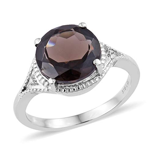 - Shop LC Delivering Joy Solitaire Ring Stainless Steel Round Smoky Quartz Gift Jewelry for Women Size 10 Cttw 5.1