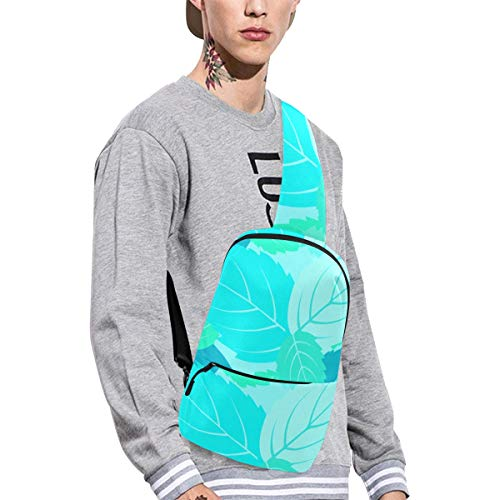 Sling Shoulder Bag Fashion Mint Leaves Green Summer Cool Crossbody Bag Daily Sports Climbing Or Multi-purpose Backpack Men And Women Ladies And Teens