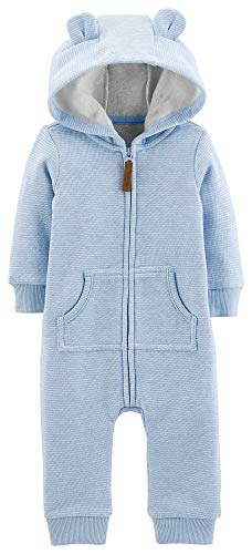 Carters Baby Boys Dog Fleece Hooded Jumpsuit Newborn Blue/White