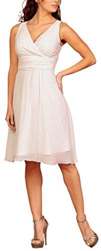 Cocktail Print Polka Modehaus White Abendkleid V Dot Chiffon Ausschnitt Weiß Party 1I8wqPn5