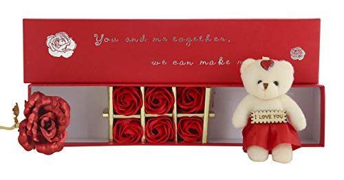 Red Rose with Teddy  25 cm, Red