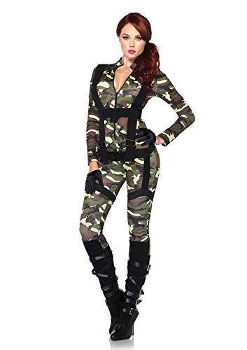 Halloween Costume Ideas With Cardboard (Leg Avenue Women's 2pc.pretty Paratrooper,zipper Front Camo Jumpsuit and Body Harness,)