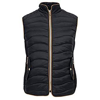 TanBridge Womens Vest Lightweight Quilted Packable Down Puffer Water-resitant Padded Vest - Black - Small