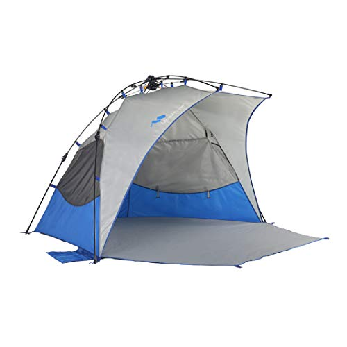 Mobihome Beach Tent Sun Shelter Instant Quick Up, Sand & Surf Beach Tents Umbrella & Canopy Easy Setup for Outdoor Camping Fishing, Portable Shade – Extended Zippered Porch Included