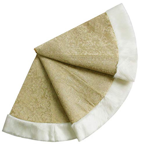 ANOTHERME Deluxe Christmas Tree Skirt - Gold Embroidery with White Faux Fur Border 48 inch for Holiday Party Decoration (Khaki)