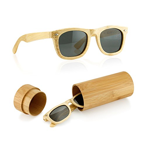 GEARONIC TM Polarized Wood Wooden Mens Womens Bamboo Vintage Sunglasses Eyewear with Bamboo box - - Havana 1950's Fashion