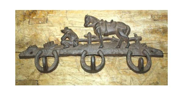3 Cast Iron Double Horseshoes with hooks for Coats Hats Western Cowboy