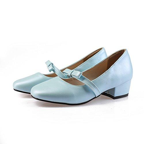 Light Bloc Chaussures Peu Profond Femme QIN Tête Talons amp;X Blue Bouche carré CXQ BCUqPP
